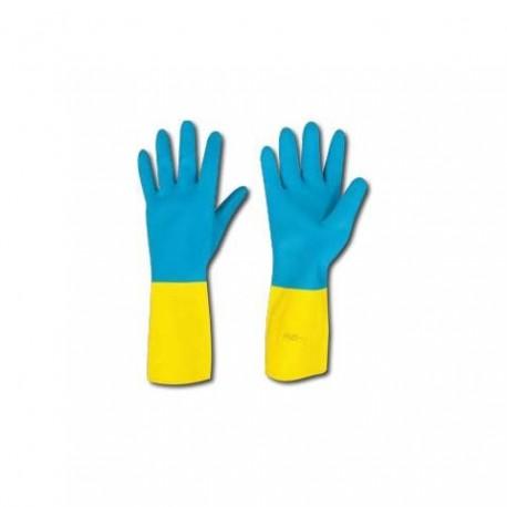 Guanti in neoprene/ lattice azzurro/ giallo